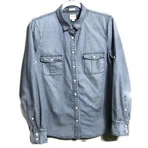 J. Crew Perfect Fit Chambray Button Up Blouse M